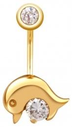 Пирсинг из желтого золота с фианитами (020072)