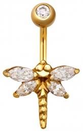 Пирсинг из желтого золота с фианитами (020092)