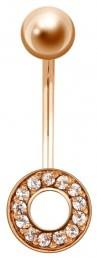 Пирсинг из красного золота с фианитами (020095)