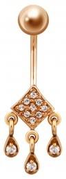 Пирсинг из красного золота с фианитами (021427)