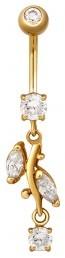 Пирсинг из желтого золота с фианитами (021434)