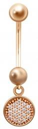 Пирсинг из красного золота с фианитами (014968)