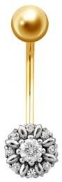 Пирсинг из комбинированного золота с бриллиантами (001328)