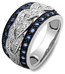 Кольцо из белого золота с бриллиантами и сапфирами (012450)