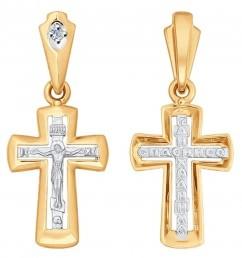 Кулон крест из комбинированного золота с бриллиантом (025071)