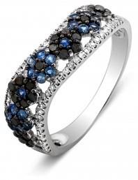 Кольцо из белого золота с бриллиантами исапфирами (010719)