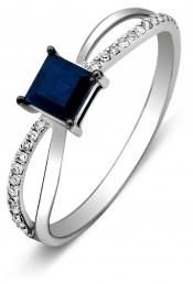 Кольцо из белого золота с бриллиантами и сапфиром (010738)