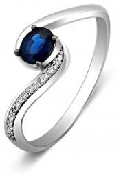 Кольцо из белого золота с бриллиантами и сапфиром (010721)