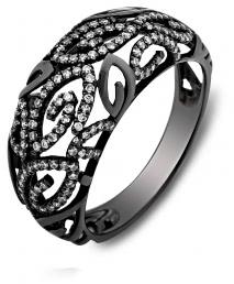 Кольцо из черного золота с бриллиантами (001203)