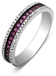 Обручальное кольцо с бриллиантами и рубинами (001205)