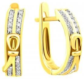 Серьги из комбинированного золота с бриллиантами (010716)