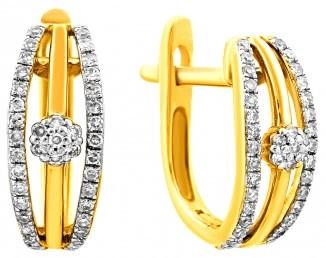 Серьги из желтого золота с бриллиантами (010713)