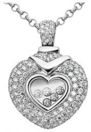 Колье из белого золота с плавающими бриллиантами Сердце (005318)
