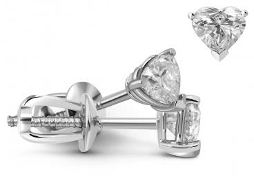 Серьги пусеты из белого золота с бриллиантами (010665)