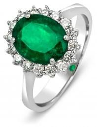 Кольцо с бриллиантами и изумрудом из белого золота (009634)