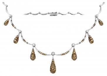 Эксклюзивное колье из белого золота с бриллиантами (002988)