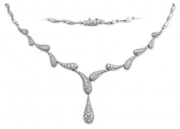 Эксклюзивное колье с бриллиантами из белого золота (011078)