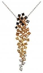 Колье с белыми, коричневыми и черными бриллиантами из белого золота (002986)