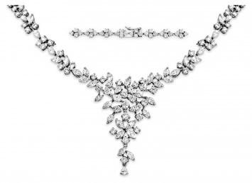 Эксклюзивное колье с бриллиантами из белого золота (003042)