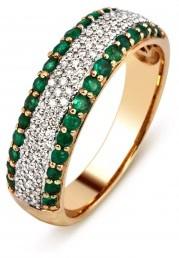 Кольцо с изумрудами и бриллиантами (012139)
