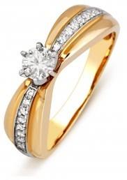 Помолвочное кольцо из красного золота с бриллиантами (011116)
