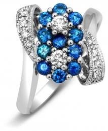 Кольцо из белого золота с бриллиантами и сапфирами (005372)