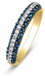 Кольцо из желтого золота с бриллиантами и сапфирами (001117)