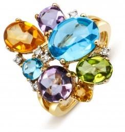 Кольцо из желтого золота с бриллиантами и полудрагоценными камнями (001187)