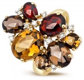 Кольцо с бриллиантами и полудрагоценными камнями из желтого золота (001188)