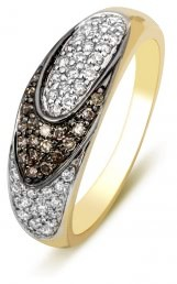 Кольцо с бриллиантами из желтого золота (001145)