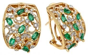 Серьги с бриллиантами и цветными драгоценными камнями (012929)