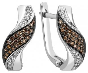 Серьги с бриллиантами из белого золота (001131)
