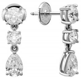 Серьги пусеты из белого золота с бриллиантами (007337)