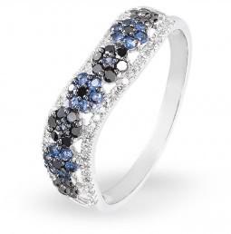 Золотое кольцо с сапфирами и бриллиантами (010719)
