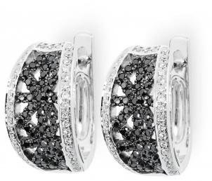 Серьги с черными бриллиантами (010712)