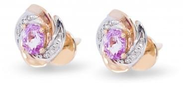 Серьги пусеты из комбинированного золота с бриллиантами и сапфирами розовыми (010682)