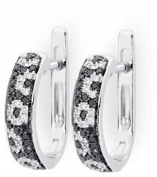 Серьги с черными бриллиантами (010702)
