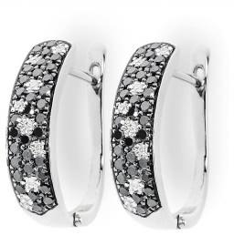 Серьги с черными бриллиантами (001244)