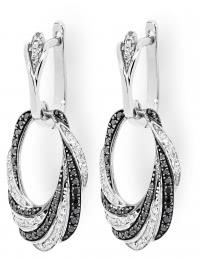 Серьги подвески с черными бриллиантами (001241)