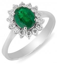Кольцо с изумрудом и бриллиантом (012472)