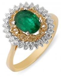 Кольцо с изумрудом и бриллиантами (012471)