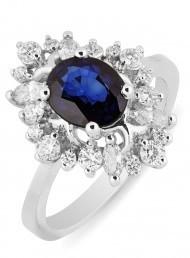 Кольцо с сапфиром из белого золота (012501)
