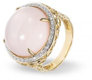 Эксклюзивное кольцо с розовым кварцем и бриллиантами (009408)