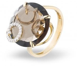 Кольцо с раухтопазом и бриллиантами (003043)