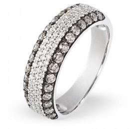 Кольцо с бриллиантами из белого золота (003001)