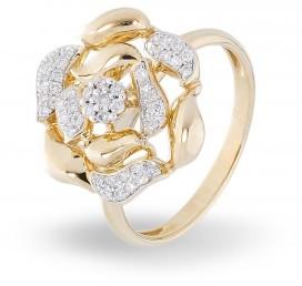 Золотое кольцо с бриллиантом (012456)