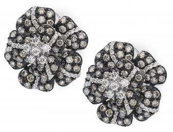 Серьги с бриллиантами из белого золота (012614)