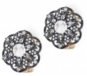 Серьги с кварцем и бриллиантами (012557)