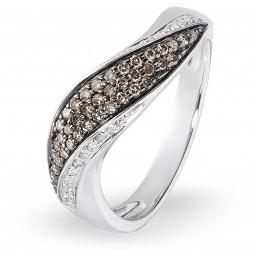 Кольцо с бриллиантами из белого золота (001166)