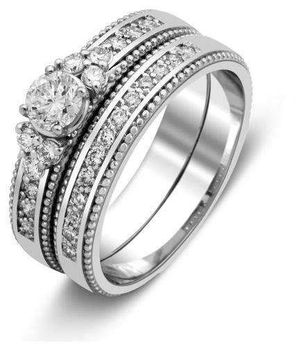 Комплект  помолвочное и обручальное кольца из белого золота с бриллиантами  (025394) ... d12bcb6fd14